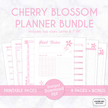 Load image into Gallery viewer, cherry blossom planner bundle with 8 digital printable planner pages inserts