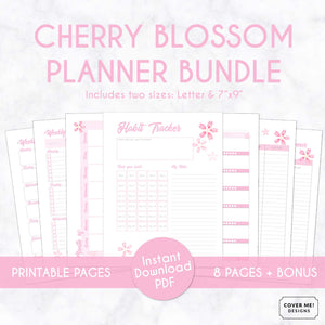 cherry blossom planner bundle with 8 digital printable planner pages inserts