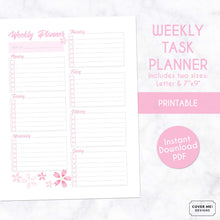 Load image into Gallery viewer, weekly task planner cherry blossom sakura theme printable planner page digital download