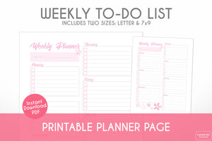 weekly task planner to do list cherry blossom sakura theme printable planner page digital download