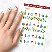 Load image into Gallery viewer, deck the halls christmas ornament lights nail art decal sheet