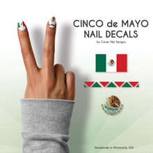 Load image into Gallery viewer, cinco de mayo mexican flag nail decals