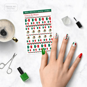 cinco de mayo mexican flag nail decals on table