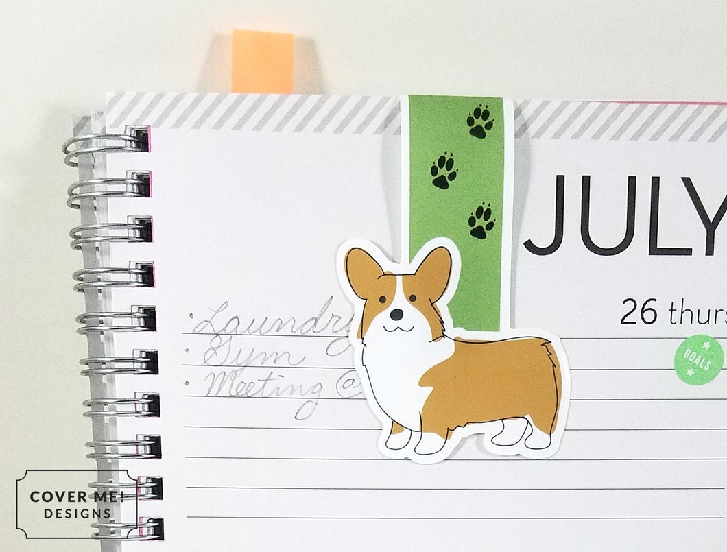corgi dog with paw prints magnetic bookmark on planner