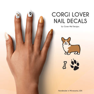 corgi dog with paw prints nail decals
