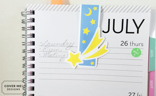 cosmic shooting star magnetic bookmark on planner