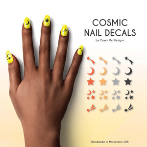 cosmic moon and star nail decals