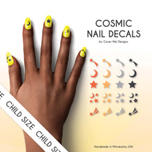 Load image into Gallery viewer, cosmic moon and star kid nail decals