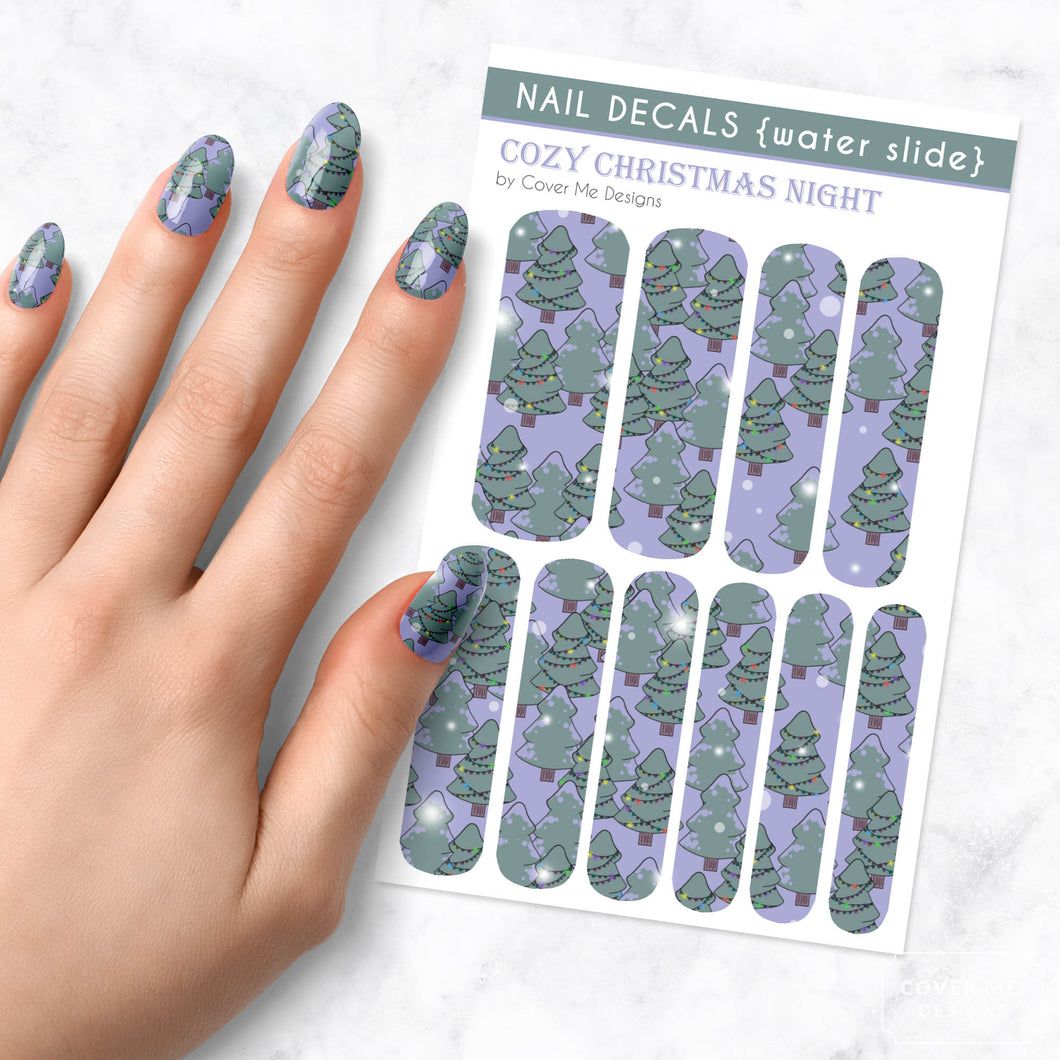 Cozy Christmas Night - Long Water Slide Nail Decals