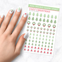 Load image into Gallery viewer, cozy christmas nail art decal sheet
