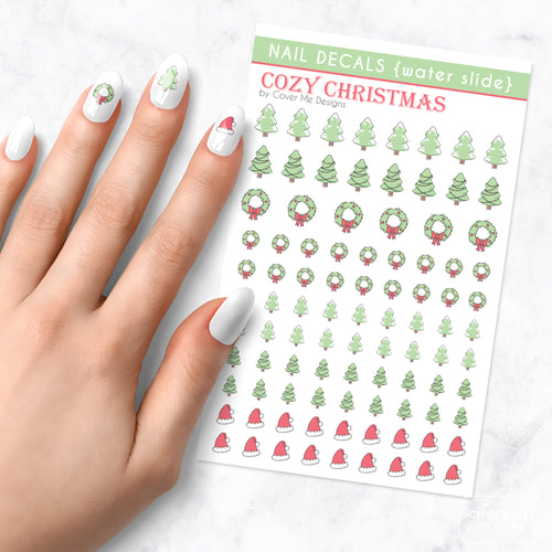 cozy christmas nail art decal sheet