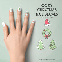 Load image into Gallery viewer, cozy christmas nail decals with santa hats, wreaths, and christmas trees