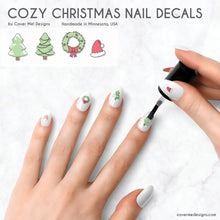 Load image into Gallery viewer, cozy christmas nail art with santa hats, wreaths, and christmas trees