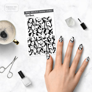 Cute Ghosts - Long Water Slide Nail Decals