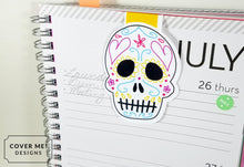 Load image into Gallery viewer, day of the dead skull magnetic bookmark on planner