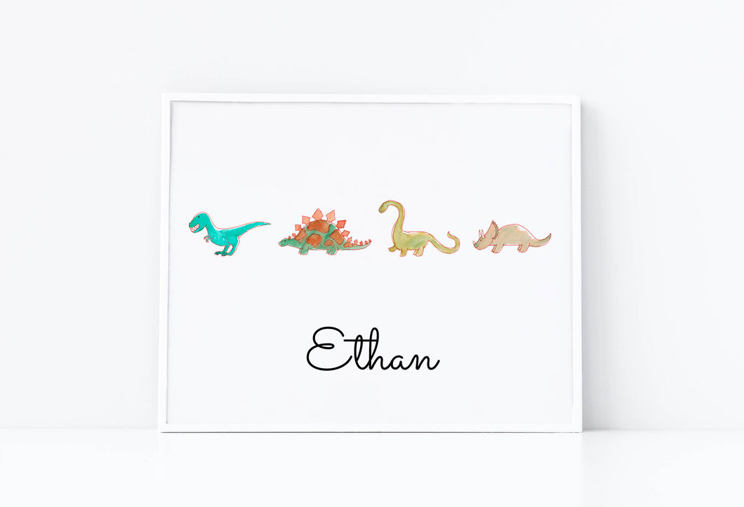 Framed watercolor painting four dinosaurs marching in line with kid's name on bottom of print