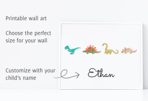 Printable wall art of four dinosaurs, several sizes available, customize with your child's name