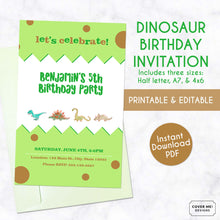 Load image into Gallery viewer, green and brown printable watercolor dinosaur birthday invitation
