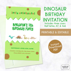 green and brown printable watercolor dinosaur birthday invitation
