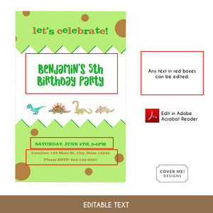 green and brown printable watercolor dinosaur birthday invitation editable text
