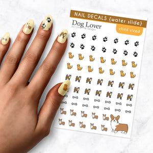 dog lover puppy kids nail art decal sheet