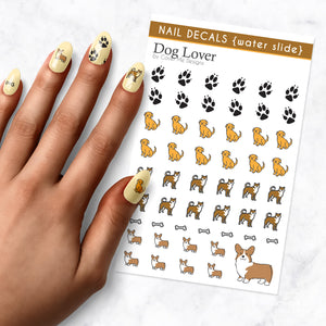 dog lover puppy nail art decal sheet
