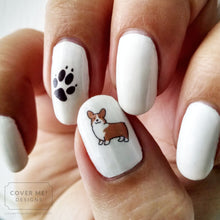 Load image into Gallery viewer, dog lover corgi and paw print nail art decals on white nail polish