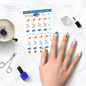 fish tank betta goldfish aquarium nail decals on table