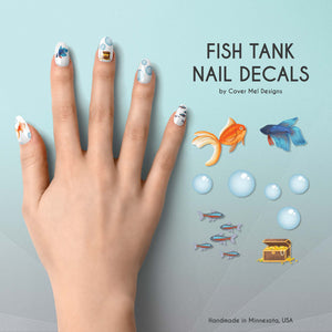 fish tank betta goldfish aquarium nail decals