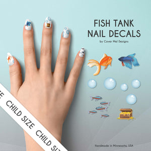 fish tank betta goldfish aquarium kid nail decals