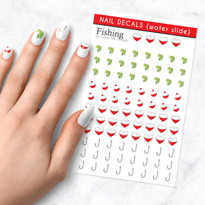 Bass fishing nail art decals