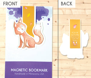 fox and falling autumn leaves magnetic bookmark front and back