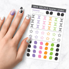 Load image into Gallery viewer, gemini zodiac nail art decal sheet