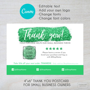 Canva template of a green glitter theme thank you card for small businesses