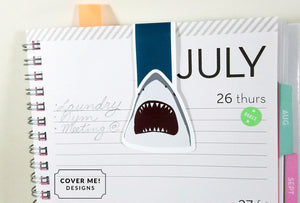 great white shark jaws magnetic bookmark on planner