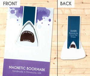 great white shark jaws magnetic bookmark front and back
