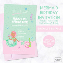 Load image into Gallery viewer, pink and green mermaid kids birthday invitation printable and editable digital download