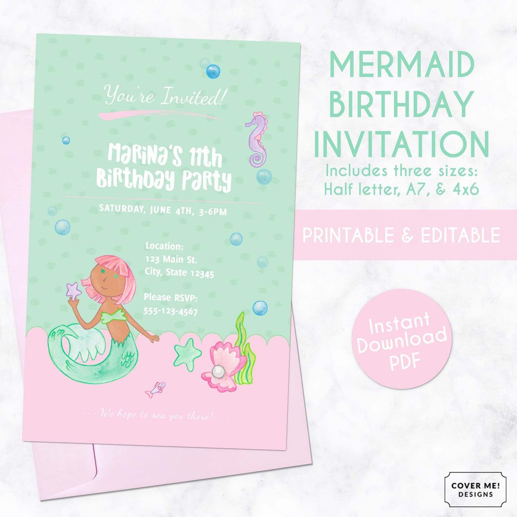 pink and green mermaid kids birthday invitation printable and editable digital download