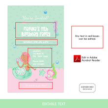 Load image into Gallery viewer, pink and green mermaid kids birthday invitation printable and editable text digital download