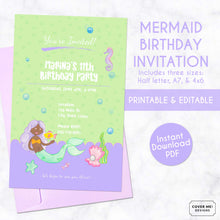 Load image into Gallery viewer, green and purple mermaid kids birthday invitation printable and editable digital download