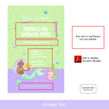 Load image into Gallery viewer, green and purple mermaid kids birthday invitation printable and editable text digital download