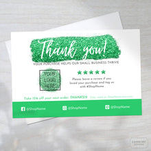 Load image into Gallery viewer, Template of a green glitter thank you card for small business