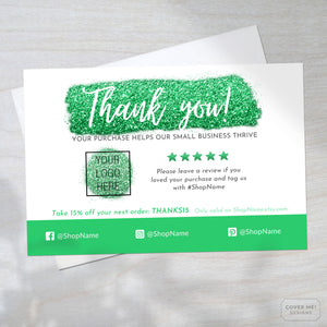 Template of a green glitter thank you card for small business