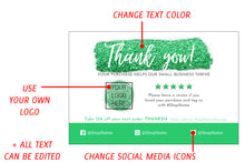 Load image into Gallery viewer, Explanation of editable elements on the green glitter thank you card Canva template