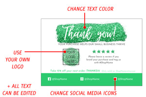 Explanation of editable elements on the green glitter thank you card Canva template