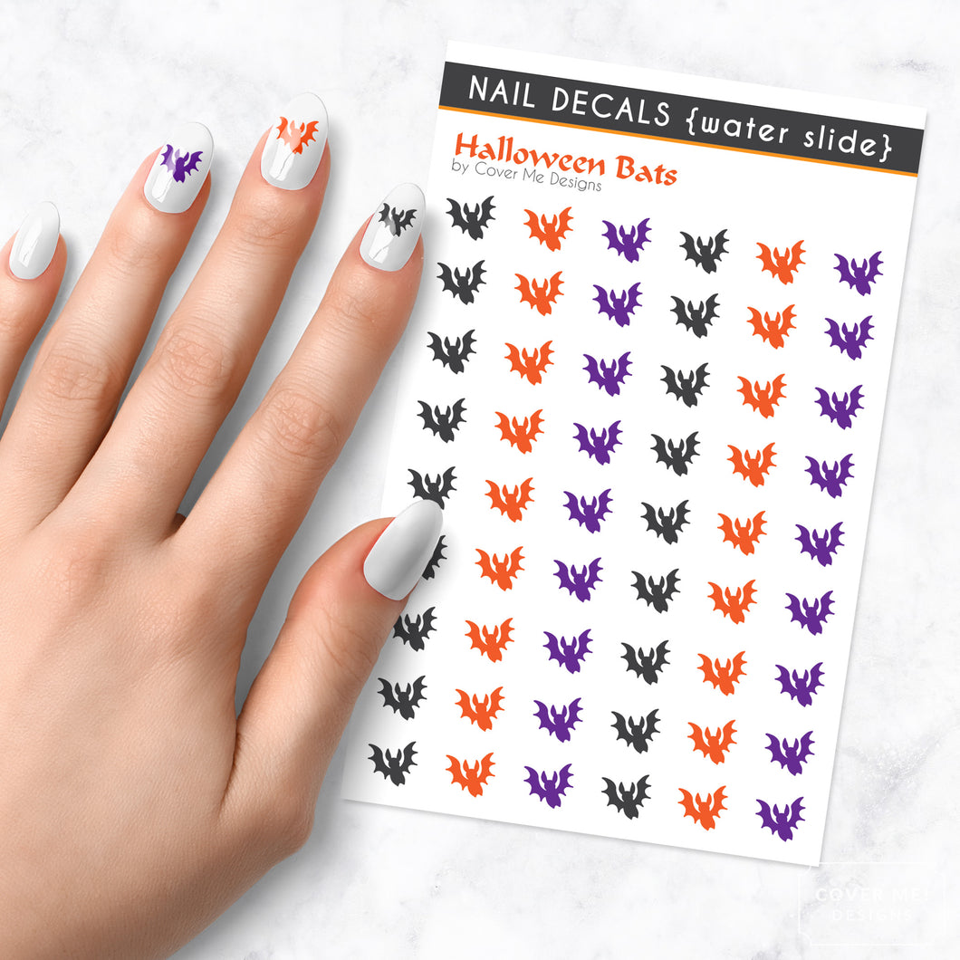 halloween bats nail art decal sheet