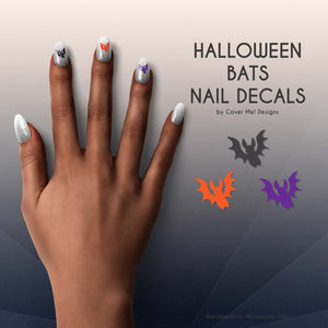 halloween bats nail decals