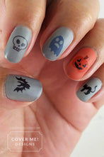Load image into Gallery viewer, happy halloween nail art decals orange and gray manicure with bats, skulls, ghosts, pumpkins, and black cats