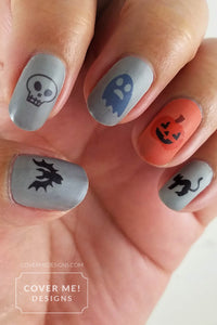 happy halloween nail art decals orange and gray manicure with bats, skulls, ghosts, pumpkins, and black cats