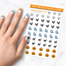 Load image into Gallery viewer, happy halloween nail art decal sheet